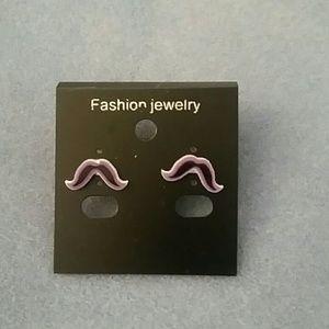 Jewelry - Purple Mustache Stud Earrings
