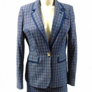 Boden Plaid Navy Trim Blazer & Skirt Suit size 4