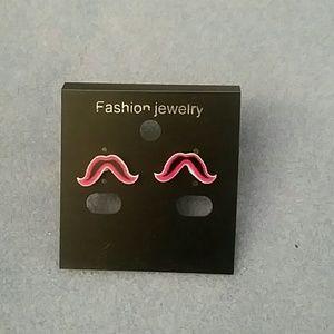 Jewelry - Red Mustache Stud Earrings