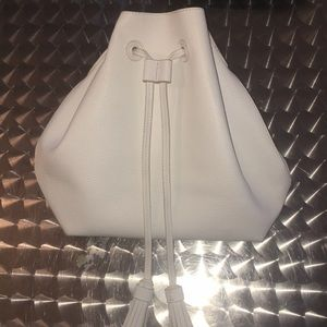 Forever 21 white faux leather bucket bag