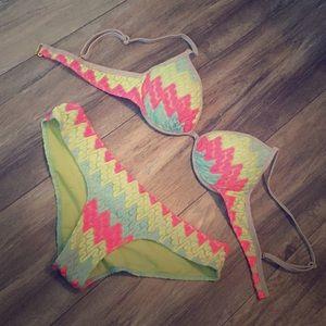 Victorias secret neon crochet swim suit