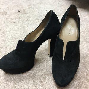 "Via spiga black suede platform ""V"" bootie/heel"