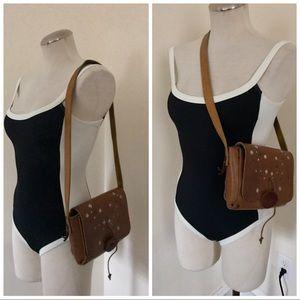 Vintage boho hippie festival leather shoulder bag