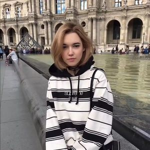 Supreme Striped Hooded Crewneck