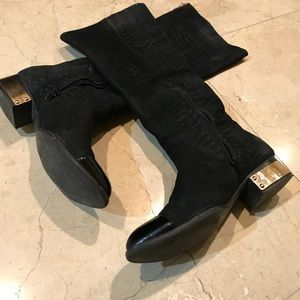 Tall Black Suede Boots