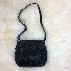 Tignanello Black Leather Crossbody Purse