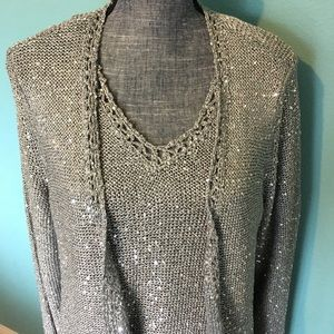 Chico's Sweater Set Tank Cardigan Sequin 3 16 18
