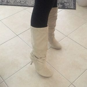 Suede Cream Knee High Heeled Boots