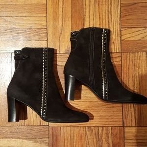 Shoes - New w/o tags Black suede booties w/silver trim -38