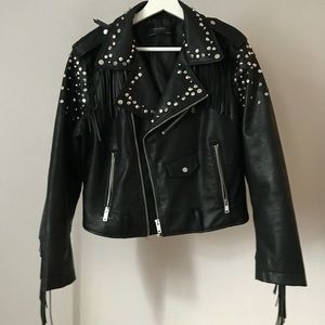 Studded leather jacket from Zara