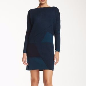 Vince Women's Blue Sweater Dress Abstract Jacquard