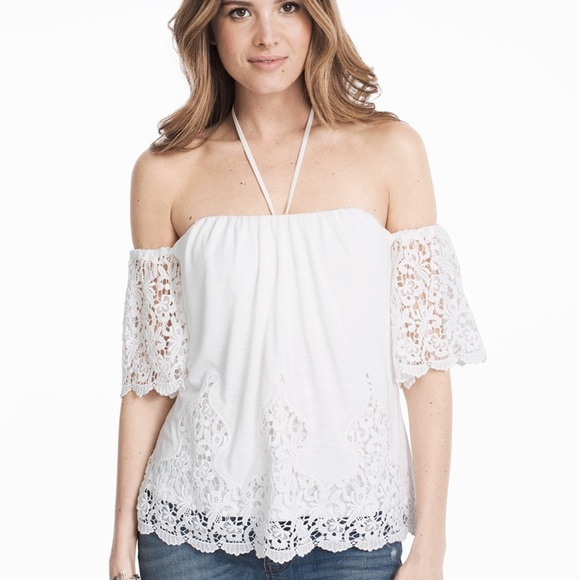 16fc1b2ce22acc OFF-THE-SHOULDER LACE EYELET SPLIT BACK TOP WHBM. NWT. White House Black  Market