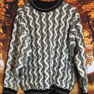 Coogi crewneck sweater black/white pure wool