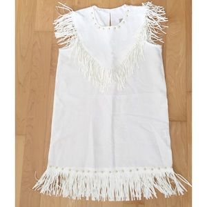 Dresses & Skirts - Cotton/Linen Sleeveless Dress with Suede Fringe