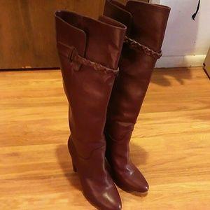 New over knee justfab maroon boots