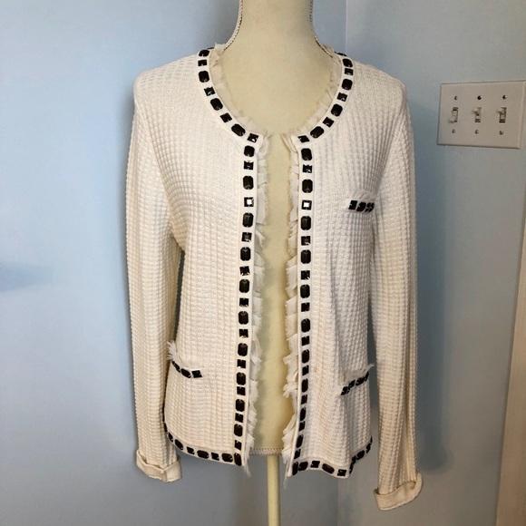 Sweaters - Chiffon trim cardigan jacket