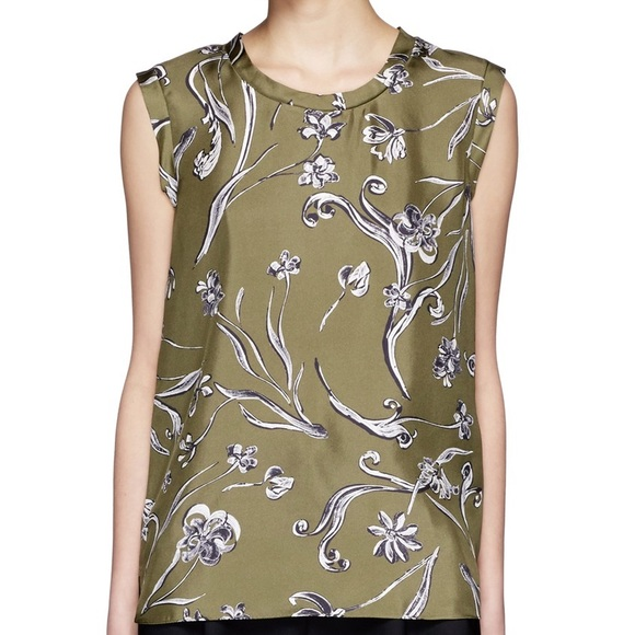 29f3c95f02050 New 3.1 Phillip Lim floral silk top dark olive