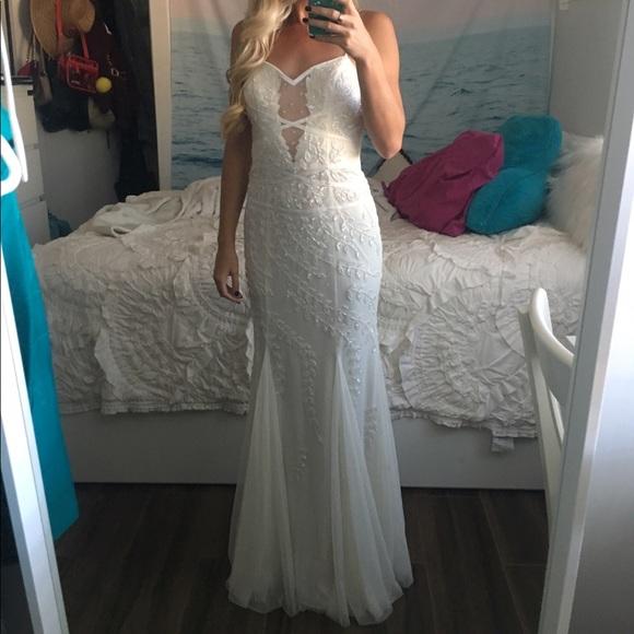 Cache Dresses | White Beaded Gown | Poshmark