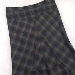 BCBGMAXAZRIA plaid flare pencil skirt