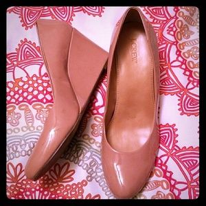 J. Crew pink blush patent wedge pumps size 10