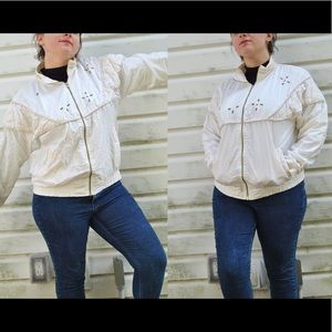 Vintage 80s White Windbreaker Jacket