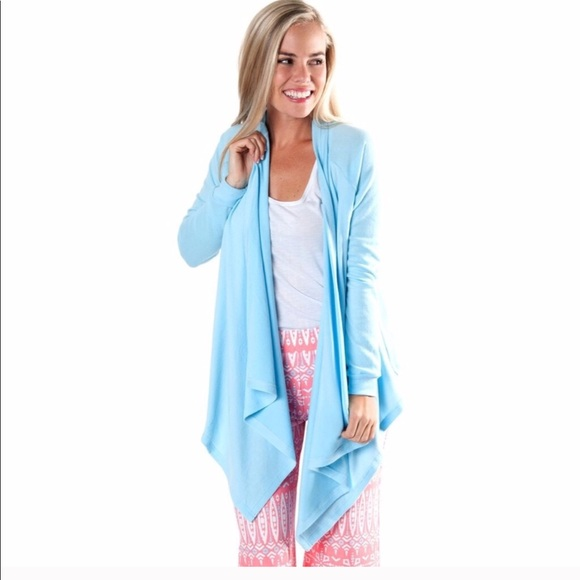 All For Color - Light Blue Waterfall Cardigan Sweater from Beth's ...