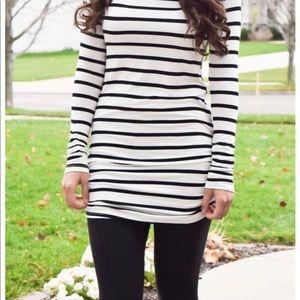 Black & white striped tunic