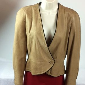 Christian Dior tan soft pebbled leather jacket