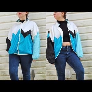 Vintage 80s Blue Windbreaker Jacket