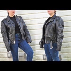 Vintage 80s Black Authentic Leather Coat