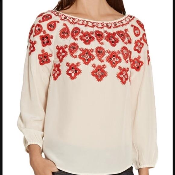 b54f85d304a7e 🌺Tory Burch Leyla silk boho blouse red cream 6 🌺.  M 5a26f5c141b4e0c02802903e