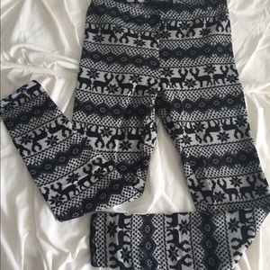 Pants - Fleece Lined Grey & Black Reindeer Leggings