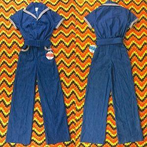 Vintage 70s denim jumpsuit belted one piece XXS