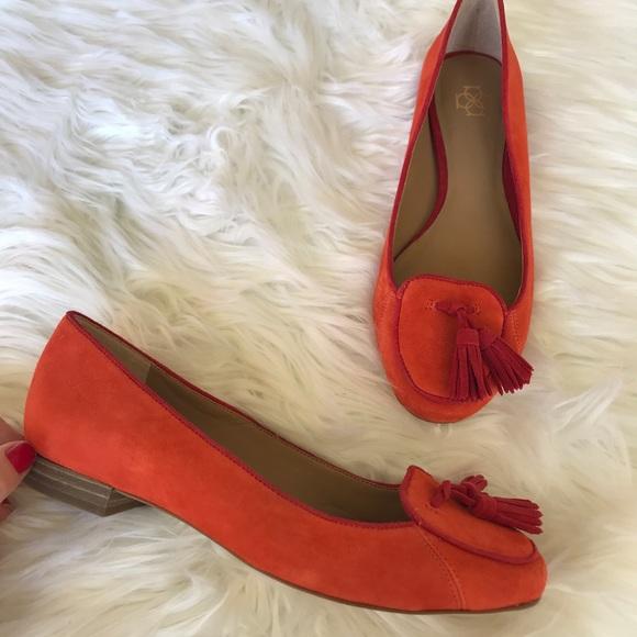 47744e3f597 Ann Taylor Shoes -  Ann Taylor  Orange Suede Loafer Flat Tassels