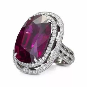 Jewelry - Purple Oval Halo Silver Engagement Ring