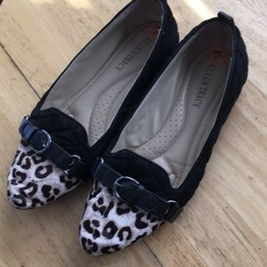 Ellen Tracy leopard print and black quilted flats