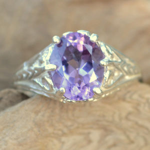 Jewelry - Genuine Amethyst Ring Filigree 925 Sterling Silver