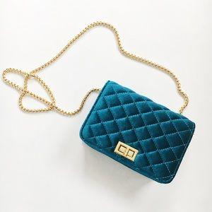🆕Sara Turquoise Velvet Mini Crossbody Bag