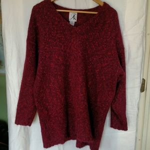 Sweaters - Red and Purple V-Neck Loose Fitting Sweater