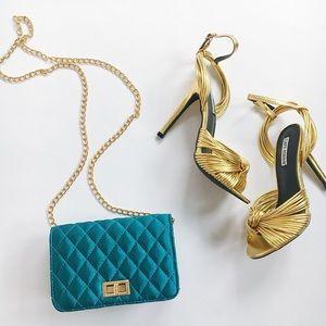 🆕Sara Turquoise Satin Mini Crossbody Bag