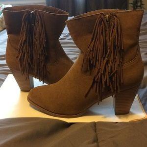 Brown suede fringe booties