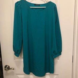 Teal Shift Dress from Tobi