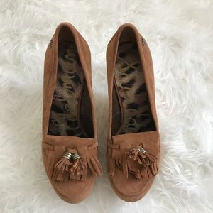 8b97f696468 Sam Edelman Shoes - SAM EDELMAN WESLEY OXFORD LOAFERS SUEDE WEDGE 7.5
