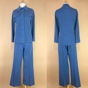 Vintage 70s rhinestone embellished pantsuit set ML