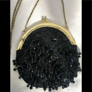 Vintage Black Beaded Fringe Handbag Purse