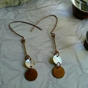 Jewelry - Raw Copper Disc Earrings, Long Shell Earrings