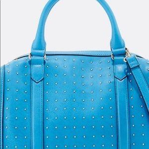 Blue Leather Pin Dot Handbag from Neiman Marcus