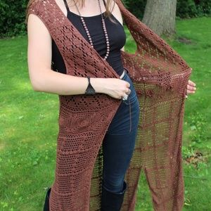 Long Bohemian Brown Crochet Vest