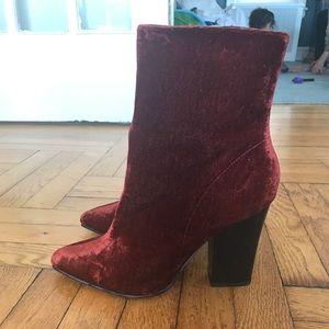 Zara velvet Booties Block Heel