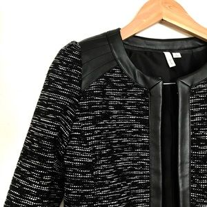 Tweed Jacket • Leather Trim • Black